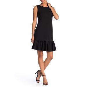 Betsey Johnson Black Scuba Crepe Ruffle Hem Dress